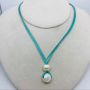 Leather Thong Necklace Turquoise Pearls Tie Back